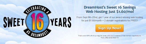 DreamHosts Sweet 16 Savings Web Hosting