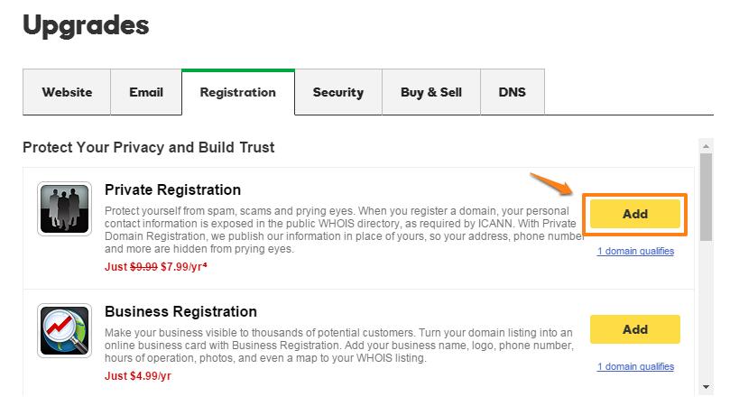 Add Private Registration