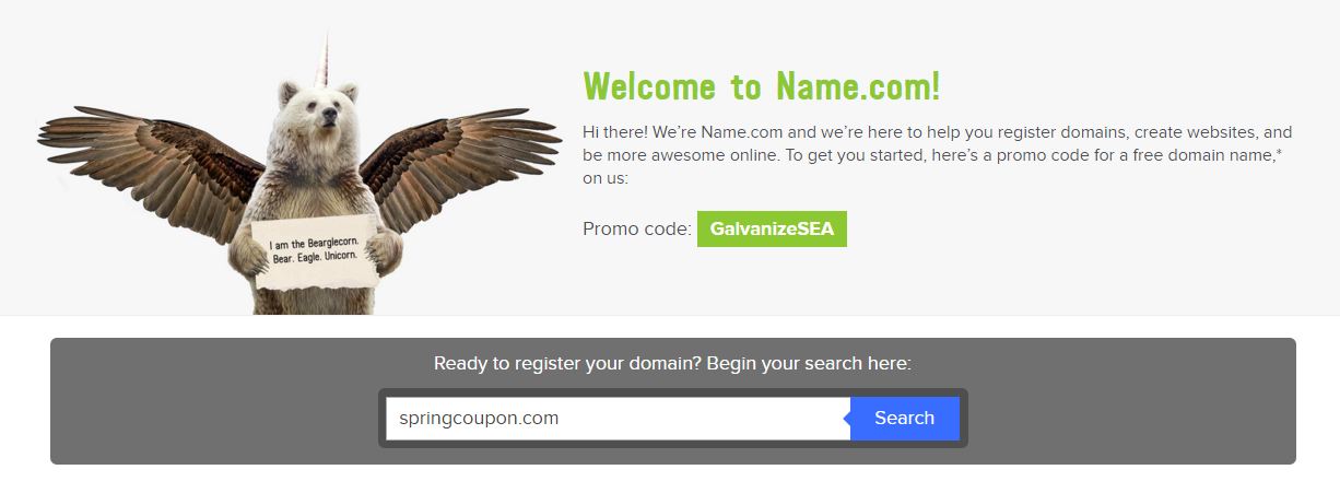 Get Your Free Domain Name Today with Name.com - Spring Coupon