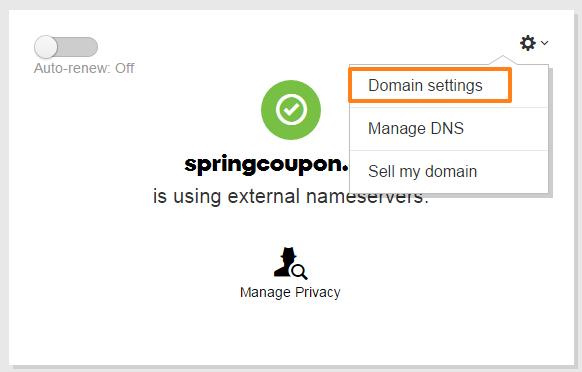 Select domain settings