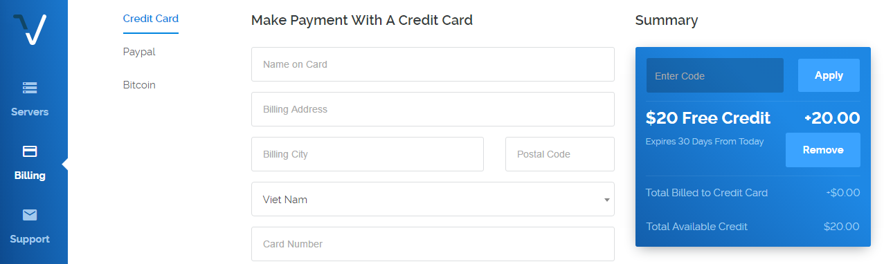 Vultr free 20 dollar credit