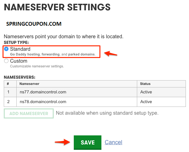 Change into GoDaddy Nameserver