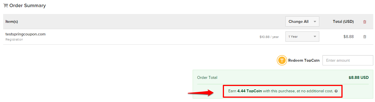 Earn 4.44 TopCoin with the order