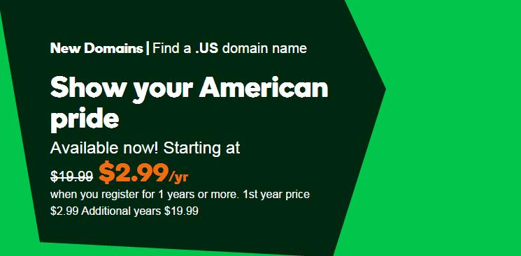 .US domain just 2.99 usd GoDaddy