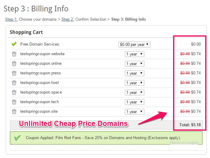 Domains at 0.74 usd at Domaindotcom