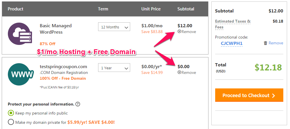 GoDaddy WordPress Hosting for only $1/month, Plus a Free Domain Name