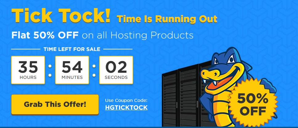 HostGator.in flat 50 tick tock hosting sale