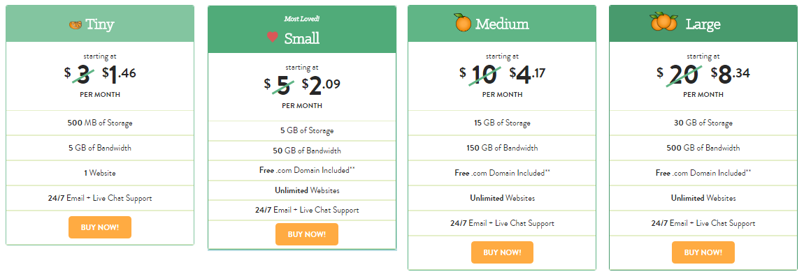A Small Orange 50 percents off Hosting prices