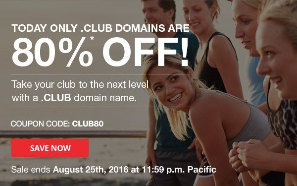 Discount 80 on .CLUB domain