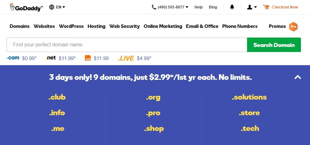 Domain Names For Only $2 99 at GoDaddy, No Limits - Spring